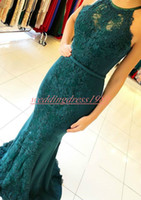 Wholesale gold evening dresses for sale - Elegant Green Mermaid Crew Neck Evening Dresses Applique Lace Saudi Plus Size African Prom Formal Pageant Celebrity Long Party Gowns
