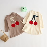 Wholesale wool baby clothes dresses resale online - Baby Girls Knitted Sweater Dresses Colors Long Sleeve Cartoon Cherry Print Knitted Wool Dress Clothes Girls Outfits T