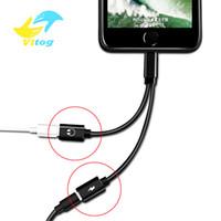 двойные гнезда оптовых-Алюминиевый сплав 2 в 1 двойной Jack зарядный кабель USB для наушников Music Audio адаптер для IP8 X XS 10 11