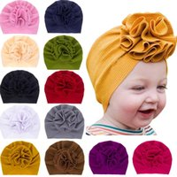 Wholesale purple newborn hat resale online - INS Newborn Baby hat Solid Color Stereo Flower Ear Muff Hat kids Hair accessories fashion kids Hat Cap