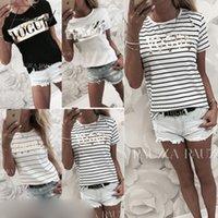 kadınlar beyaz tişörtler toptan satış-2019 Moda Kadın Yaz Casual Tişörtlü Kısa Kollu Çizgili Tshirts Üst Gömlek Tee Vintage Beyaz Gömlek Kadın Giyim
