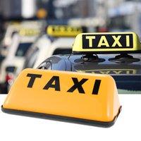 señales de techo del coche al por mayor-1PCS universal amarillo 12V COB luz del coche de la lámpara Base sesión Muestra del taxi Cab Roof Top Topper Adhesivo lámpara de coches