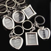 Wholesale photo frame advertising resale online - 6 photo frame metal keychain heart shaped creative advertising photo keychain gift custom logo pendant car keychain EEA593