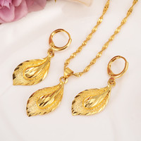 Wholesale big leaf charms resale online - 14 K Solid gold GF Necklace Earring Set Women Party Gift big Leaf Sets daily wear mother gift DIY charms girls Fine Jewelry