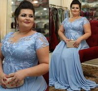 Wholesale mother bride short ruched dresses resale online - Modern Dusty Blue Plus size Mother of the Bride Groom Dresses Chiffon Short Sleees Long Cheap Hollow Back Evening Formal Gowns