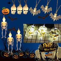ingrosso luce della stringa della batteria 3m-1.5 M / 3M Halloween Horror Skull Bone Lights Lampada a corde Decorazione per feste per feste String Light a batteria Decorazioni di Halloween JK1909