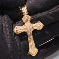 Wholesale pave diamond white gold online - Brand New Choucong Luxury Jewelry Silver Gold Fill Cross Pendant Pave White Sapphire CZ Diamond Lucky Neckalce For Women Gift With Chain