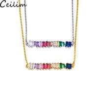 colar multicolorido venda por atacado-CZ Rainbow Necklace Zirconia Pedra para Mulher Multicolorido Cadeia Colar de Pingentes de Colar de Jóias de Moda Arco-íris Cadeia Pulseiras