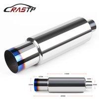 silenciadores de tubos de escape universais venda por atacado-RASTP-Universal Azul de Alta Qualidade Tubos de Escape Do Carro Tubo De Escape De Aço Inoxidável Sistemas de Escape Silenciadores De Corrida RS-CR1010