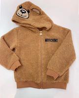 niña de osos de peluche al por mayor-Niños chaqueta de invierno con capucha Abrigo de paño grueso y suave del oso de peluche de los bebés rompevientos niños del muchacho de la chaqueta de abrigo ropa para niños pequeños
