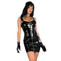 vestido sexy negro wetlook al por mayor-Venta caliente más el tamaño M-xxxl Sexy Wetlook Cuero Mujeres Clubwear Ropa Vestido tubo, cremallera frontal, Negro Pvc cuero vestido erótico J190507