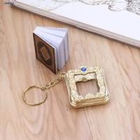 corán corán al por mayor-JAVRICK Mini Ark Quran Book Real Paper Can Read Árabe El Corán Llavero Joyería musulmana