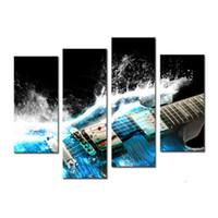 obra de arte giclee al por mayor-4 Paneles Arte de la pared Pintura de la guitarra en azul y las ondas Se ve hermosa pintura en lienzo Ilustraciones Giclee para la decoración de la pared del hogar