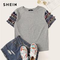 d354ae09b5 Discount fringe t shirt xl - SHEIN Folk Style Grey Fringe Trim Heathered Tee  Casual T