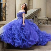 Wholesale princess pipes resale online - 2019 New Blue Ball Gown Princess Quinceanera Dresses Long Prom Dresses Sexy Off Shoulder Tulle Beads Party Gowns Vestido de Novia