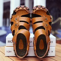 Wholesale genuine leather online for sale - Group buy man sandals summer for men handmade genuine leather roman shoes hollow lightweight breathable casual beach rubber online T200420