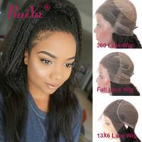 brezilya yaki dolu dantel peruk toptan satış-Kinky Düz İnsan Saç Dantel Ön Peruk İtalyan Yaki Siyah Kadınlar Için 360 Tam Dantel İnsan Saç Peruk Brezilyalı Bakire Dantel Peruk Tutkalsız