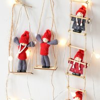 Wholesale swings for trees resale online - Christmas Tree Decoration Climbing Ladder Boy Girl Doll Play Swinging Ornament Felt Cloth Christmas Decoration For Home