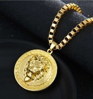 Wholesale lion chain necklace for men resale online - Lion Tag necklaces Men Miami Cuban necklace crystal Jewelry Classical Rhinestones Chain For Men Top Quality chain Fashion