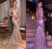 Wholesale coral sparkle prom dress resale online - Modest Arabic Long Sleeve Evening Dresses Sparkle Sequined Mermaid Plunging Neck Open Back Long Pageant Party Gowns Prom Dress Wears