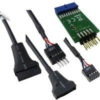câble d'en-tête carte mère usb achat en gros de-Ordinateur de bureau Câbles Connecteurs Carte mère d'ordinateur 19 USB 3.0 en-tête mâle à 9 broches USB 2.0 Port de câble femelle 20