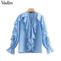 şifon şık üstleri toptan satış-Vawomen tatlı ruffled şifon bluz V boyun uzun kollu sevimli kadın rahat moda mavi gömlek şık blusas tops