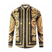 ingrosso camicie di patchwork uomini-Camicie eleganti da uomo nuovissime Camicia casual Harajuku moda Uomo Lusso Medusa Nero Oro Fantasia 3D Stampa Camicie slim fit