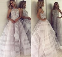 Wholesale prom dress for sale - 2019 Lilac Beautiful Layers A Line Prom Dresses Halter Neck Backless Appliques Beads Top Long Evening Gowns Formal BC0994