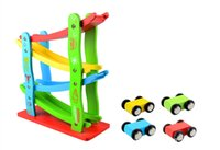 ingrosso i migliori bambini giocano le automobili-Wooden orbital speed car colorful Educationa Slot model toy Four layers orbit 4 cars baby kids miglior regalo di compleanno