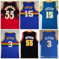 mejores camisetas de baloncesto azul al por mayor-NCAA Mejor calidad 55 Jerseys Dikembe Mutombo 15 Carmelo Anthony 3 Allen Iverson Blue College Jerseys Dikembe Mutombo Baloncesto Película
