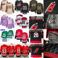 Wholesale brown usa hockey jersey resale online - 2018 Staal Carolina Hurricanes Ice Hockey Jersey purple black white army green th flat usa men size S XL