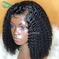 ingrosso beyonce capelli brasiliani-Bythair brasiliano pre pizzicato crespi ricci parte sinistra piena di capelli umani parrucche con i capelli del bambino parrucca anteriore in pizzo per le donne nere