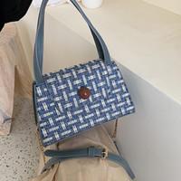 wolle kreuz körper tasche großhandel-Retro Plaid Cross Body Bag für Frauen Fashion Chain Wolle gewebt Plaid Flap kleine Umhängetasche Handtaschen Casual Messenger Bags # 15