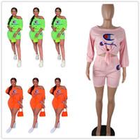 pantalones cortos al por mayor-3 colores campeón diseñador chándal mujer verano manga tres cuartos camiseta + pantalones cortos 2 piezas conjunto de pantalones cortos trajes de moda S-3XL A51301