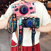 ingrosso supporto per telecamera-Custodia 3D Retro Camera per Samsung Galaxy S10 S10 Plus S9 Nota 9 Supporto moda Stand Copertura posteriore in silicone per IPhone XR XS MAX Con cordino