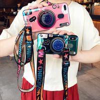 soportes de notas al por mayor-Funda de cámara retro 3D para Samsung Galaxy S10 S10 Plus S9 Nota 9 Soporte de soporte de moda Cubierta trasera de silicona para iPhone XR XS MAX con cordón