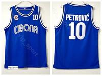 buenos jerseys de baloncesto al por mayor-Cibona Zagreb College Drazen Petrovic Jersey 10 Hombres Equipo Color Azul Universidad Petrovic Baloncesto Jersey Uniforme Transpirable Buena calidad