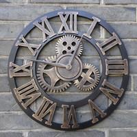 ingrosso grande orologio in legno-Fatto a mano di grandi dimensioni 3D Rustico decorativo di lusso di arte Big Gear in legno Vintage grande orologio da parete sul muro per regalo Home Decor