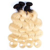 Wholesale two toned remy human hair weave online - 4 Bundles T B Dark Root Blonde Extensions Virgin Hair Body Wave Two Tone Ombre Peruvian Brazilian Indian Remy Human Hair Weave