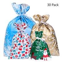 kıvırcık ipek hediye çantası toptan satış-30 adet Noel Hediye Çanta Sevimli İpli Karışık Stilleri Goody Çanta Hediye Paketleme Parti Noel Tatili Şekeri Şeker çanta