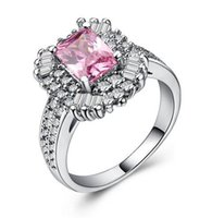 Wholesale simple elegant wedding ring sets for sale - Group buy Elegant Exquisite Pink Square Stone Engagement Rings for Women Trendy Simple Full Zircon Wedding Rings Jewelry Bague Femme