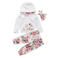 Wholesale flowers kids clothes resale online - baby Kids Clothing Sets Girl girl Flowers Casual Hoodies kids Sets long Sleeve Hoodies pant headband