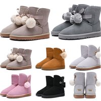 Wholesale girls size snow boots resale online - 2020 women boots Australia Classic snow Boots WGG tall real leather Bailey Hairball girl winter desinger Keep warm size