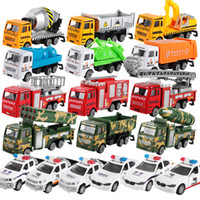 camiones de coches de juguete al por mayor-12 estilos Coches Juegos de construcción verde de coches, Policía del mezclador del coche, coche de bomberos, camión de cemento, para la Educación de coches de juguete ABS Shell modelo de simulación