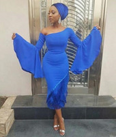 Wholesale one strap backless prom dress for sale - Group buy 2019 Aso Ebi blue Prom Dresses Plus Size irregular neck long poet sleeves Spandex Evening Gowns Arabia Women tea length Party evening gowns