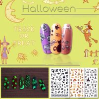Wholesale nail art stickers halloween for sale - Group buy January3 Halloween Props Waterproof DIY Nail Applique Halloween Party Funny Noctilucous Nails Floral Stickers Nail Art Stickers M0089