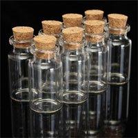 şişe şişeleri mantar toptan satış-Toptan-5 Adet DIY 45mm x 24mm 12 ml Yüksek Sıcaklık Dayanımı SmoothTransparent Küçük Sevimli Mini Mantar Tıpa Cam Şişe Flakon Kavanoz