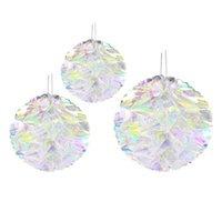 Wholesale pc honeycomb for sale - 3 set Multifunctional Drop Ornament Props Paper Flower Ball Rainbow Film Plastic Honeycomb Home Artificial Iridescent