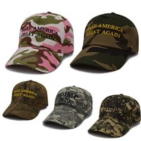 Wholesale 3d embroidery caps snapback resale online - 5 Styles Donald Trump Camouflage Hat Women Men Baseball Cap Keep America Great Hats D Embroidery Camo Caps Adjustable Snapback M199F