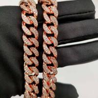 coole kupferschmuck großhandel-Männer Frauen Hip Hop Rose MIAMI CUBAN LINK Coolste Kette Halskette Kupfer Casting Micro Zirkonia Verschluss EINGEBAUT Bling Schmuck